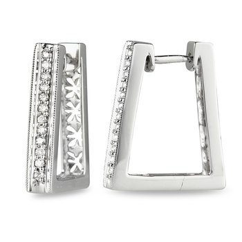 14K WG Diamond Huggy Rhombus shape Ear Rings