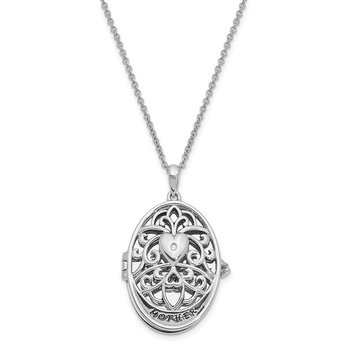 Sterling Silver CZ Antiqued MOTHER I Love You More 18in. Necklace