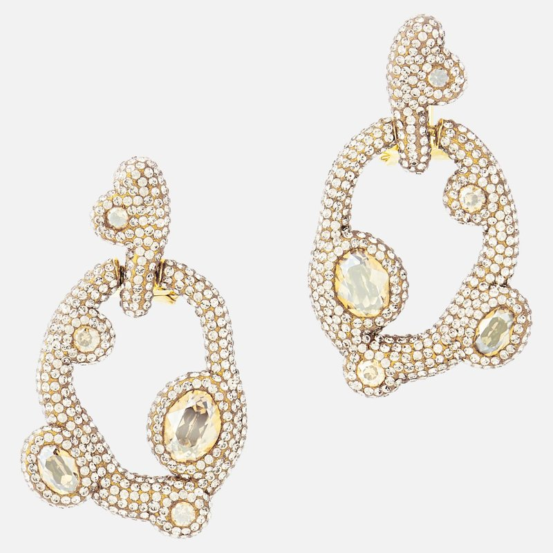 Swarovski Tigris Pierced Earrings, White, Gold-tone plated