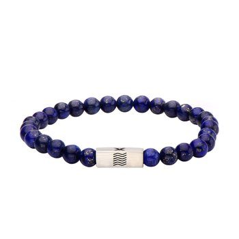 Lapis Gemstone Stretch Bracelet with Steel Accent