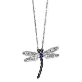 Cheryl M Sterling Silver White, Black & Blue CZ Dragonfly Necklace