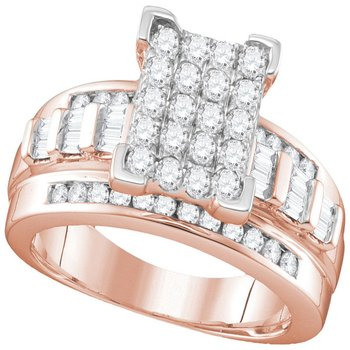 10kt Rose Gold Womens Round Diamond Elevated Rectangle Cluster Bridal Wedding Engagement Ring 1.00 Cttw