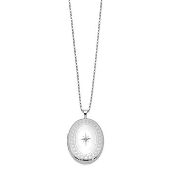 Sterling Silver Rhodium-plated 26mm Oval Diamond Locket Necklace