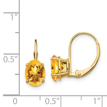 14k 8x6mm Oval Citrine Leverback Earrings