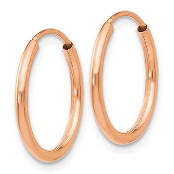 14k Rose Gold Polished Endless Tube Hoop Earrings