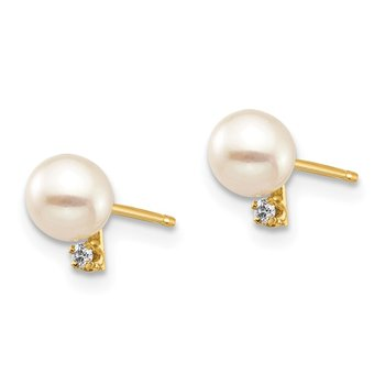 14K Madi K 4-5mm White Round FW Cultured Pearl .02ct Diamond Post Earrings