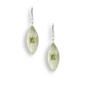 Yellow Marquise Wire Earrings.Sterling Silver-Peridot