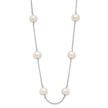 14K White Gold 6-7mm White Round FW Cultured Pearl 12-station Necklace