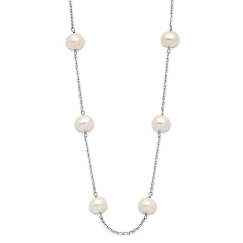 Quality Gold 14K White Gold 6-7mm White Round FW Cultured Pearl 12-station Necklace