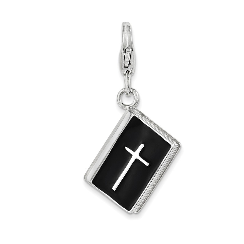 Sterling Silver Quality Gold Black Enameled Crucifix Charm