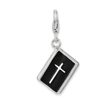 Sterling Silver 3-D Enameled Bible with Cross w/Lobster Clasp Charm
