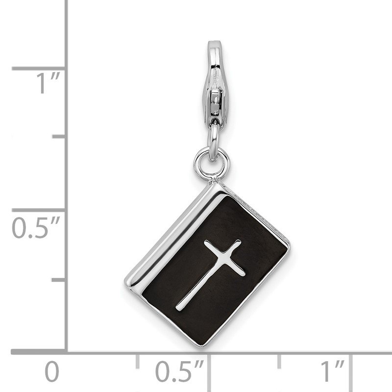 Fine Jewelry by JBD Sterling Silver RH w/Lobster Clasp 3-D Enameled Bible with Cross Charm