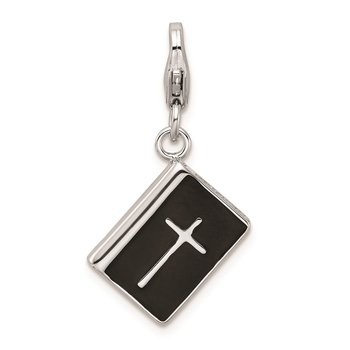 Sterling Silver Amore La Vita Rhod-pl 3-D Enameled Bible Cross Charm