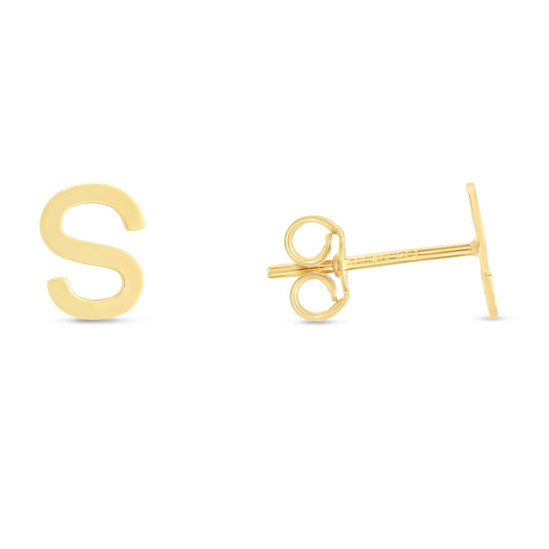 Royal Chain 14K Gold Initial S Stud Earring