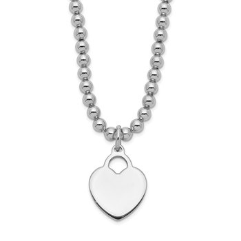 Sterling Silver Heart Disc Beaded Stretch Necklace