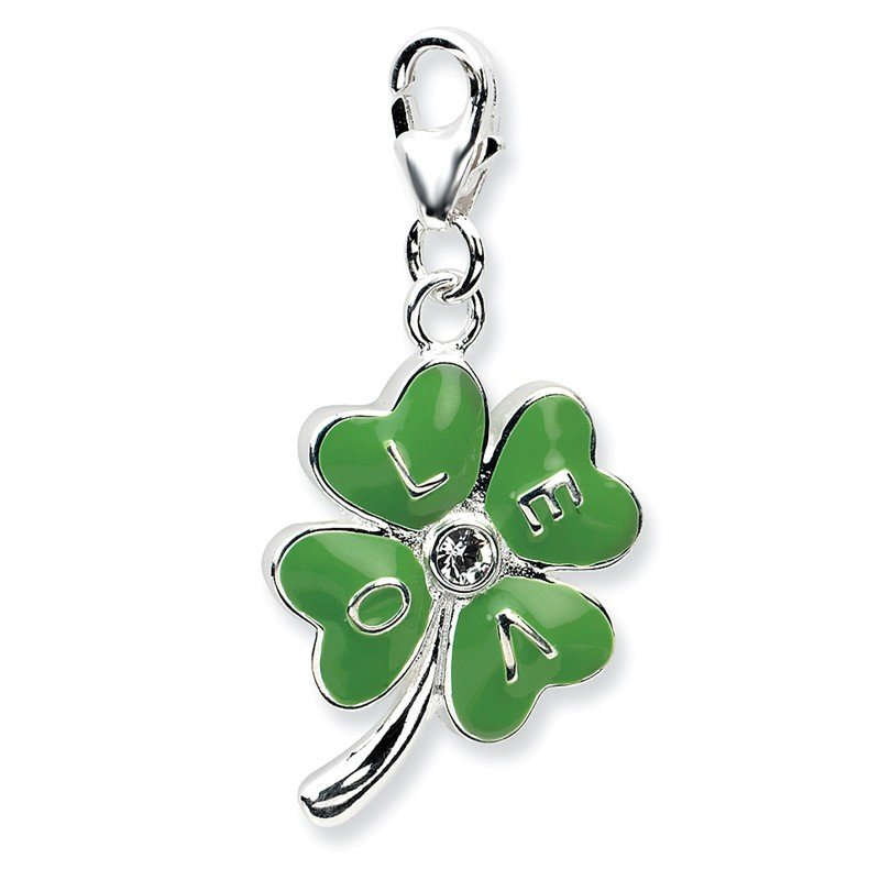 Quality Gold Sterling Silver 3-D Enameled 4 Leaf Clover w/Lobster Clasp Charm