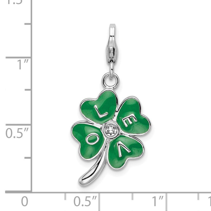 Quality Gold SS RH 3-D Enameled 4 Leaf Clover w/Lobster Clasp Charm