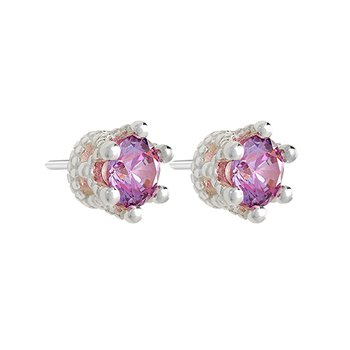 TIARA STUD EARRING - Brt SS, Swarovski 5mm Fancy Purple Zirconia