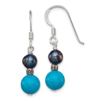 Sterling Silver FW Cultured Black Pearl/Turquoise Dangle Earrings