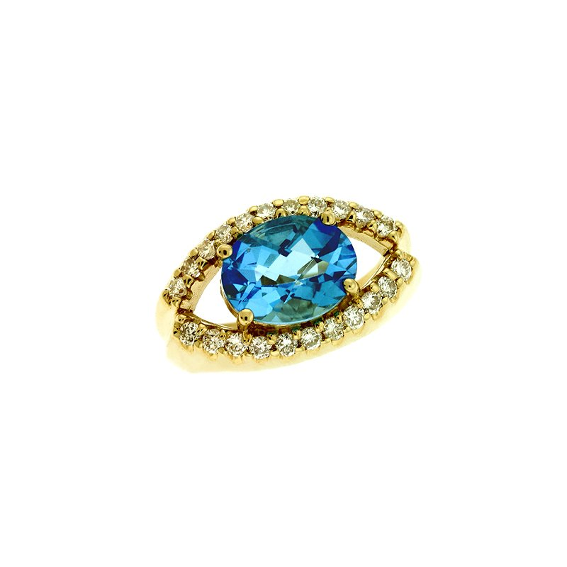 S. Kashi  & Sons Blue Topaz./ Diamond Ring