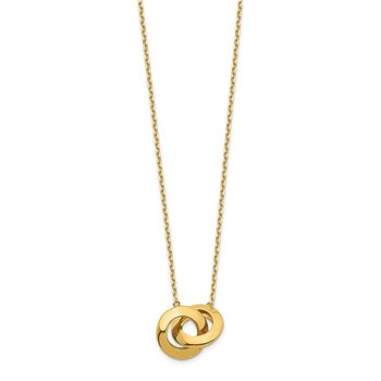 14k Polished Fancy Interlocking Circle 16 inch with 1 inch ext. Necklace