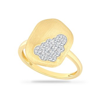 14K FREE FORM RING WITH 18 DIAMONDS 0.27CT  MATTE FINISH