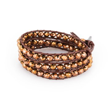 Bracelet. Brown leather, 316L steel closure and metallic copper crystals