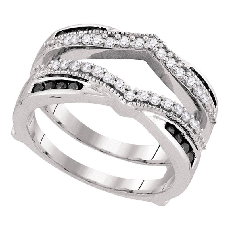 Gold-N-Diamonds, Inc. (Atlanta) 10kt White Gold Womens Round Black Color Enhanced Diamond Wrap Ring Guard Enhancer Wedding Band 1/2 Cttw