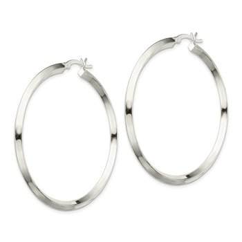Sterling Silver 3x50mm Knife Edge Hoop Earrings