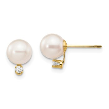14k 6-7mm White Round Saltwater Akoya Cultured Pearl Diamond Post Earrings