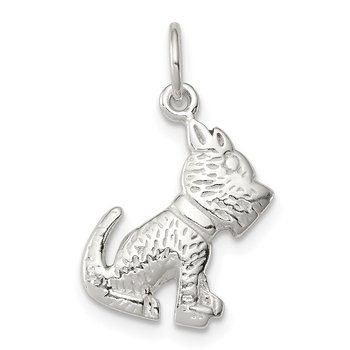 Sterling Silver Polished and Textured Dog Pendant