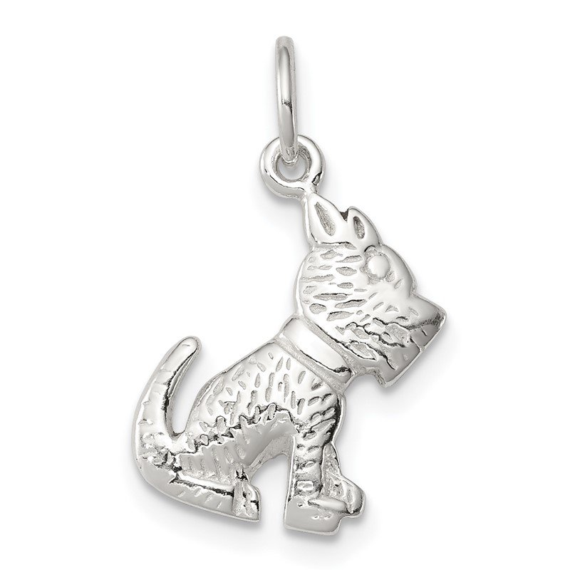 Quality Gold Sterling Silver Polished and Textured Dog Pendant