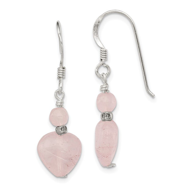 Quality Gold Sterling Silver Rose Quartz Heart Earrings