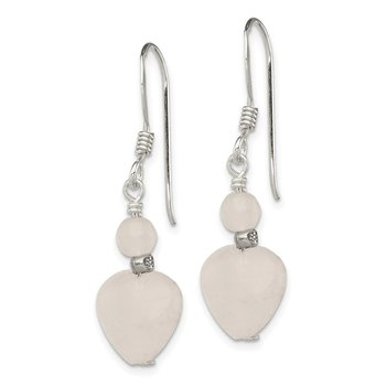 Sterling Silver Antiqued Rose Quartz Heart Earrings