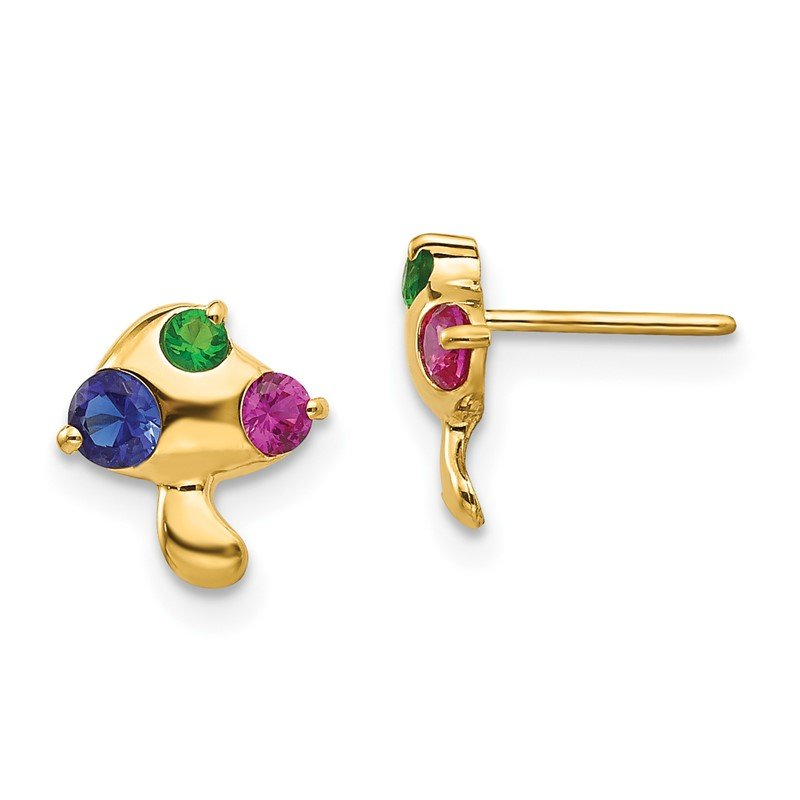 Quality Gold 14k Madi K Multicolor CZ Children's Mushroom Earrings