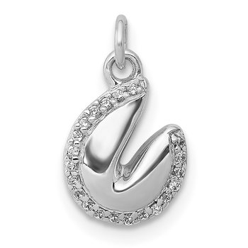 14k White Gold 1/20ct. Diamond Fortune Cookie Pendant