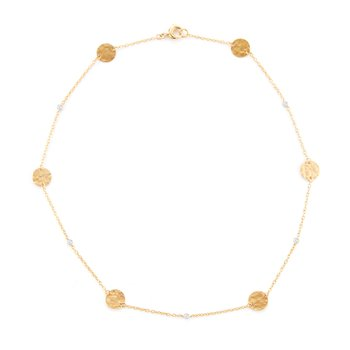 14KY CIRCLE. GOLD-BY-THE-YARD NECKLACE .08CT