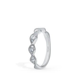 Swirl Milgrain Diamond Wedding Band