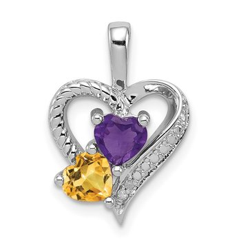 Sterling Silver Rhodium-plated Amethyst, Citrine & Diamond Pendant