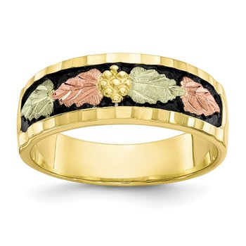 10k Tri-color Black Hills Gold Men's Antiqued Ring