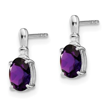 Sterling Silver Rhodium Plated Dia. & Amethyst Oval Post Earrings