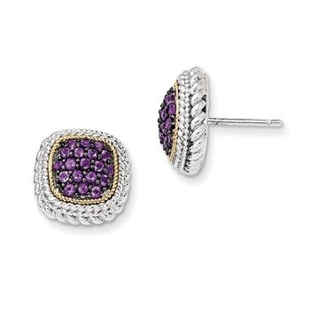 Sterling Silver w/14k and Black Rhodium Amethyst Post Earrings
