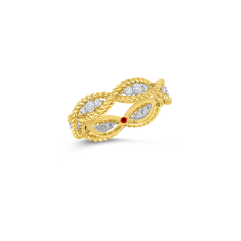 1 Row Ring With Diamonds &Ndash; 18K Yellow Gold, 7.5