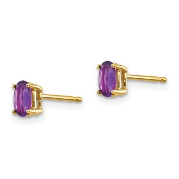 14k 5x3mm Oval Amethyst Earrings