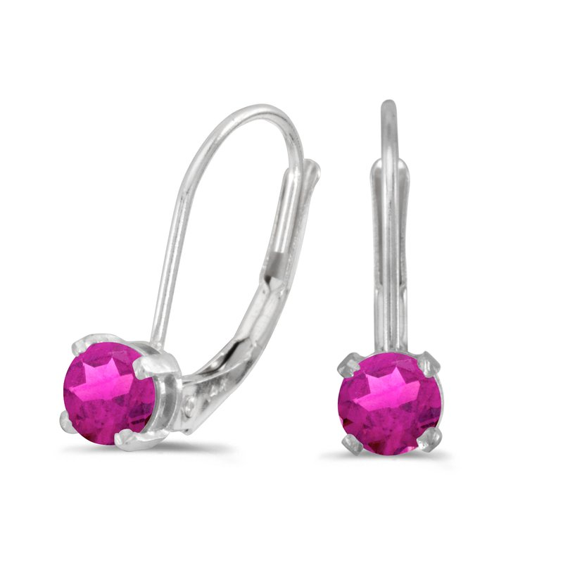 Color Merchants 14k White Gold Round Pink Topaz Lever-back Earrings