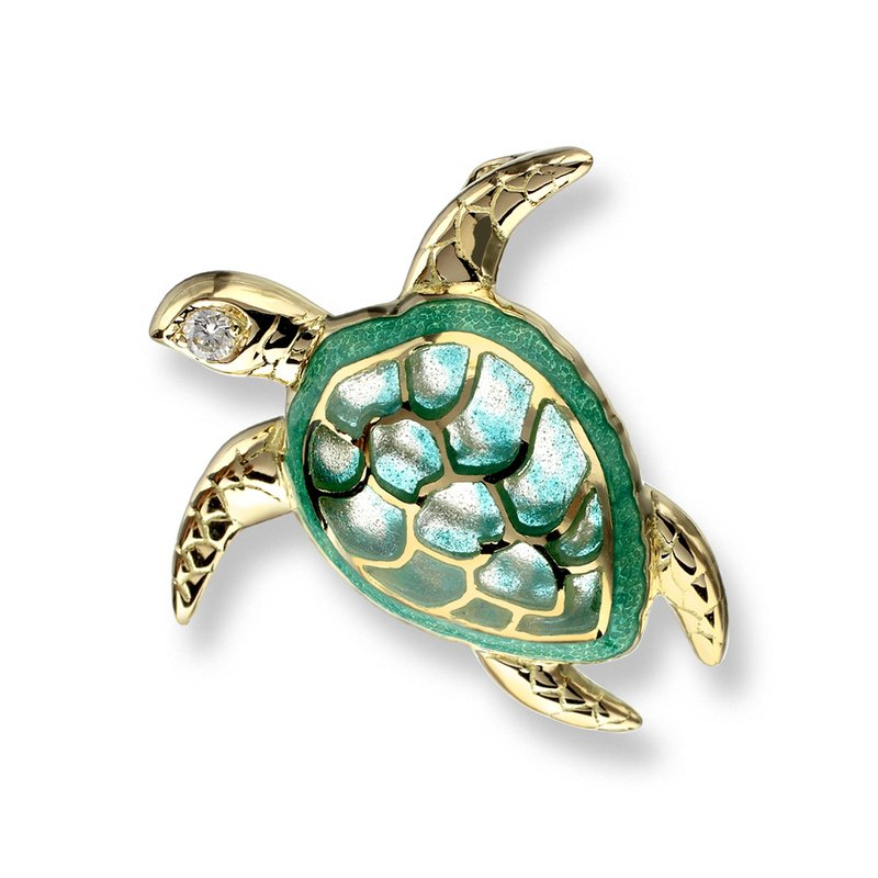 Nicole Barr Designs Green Turtle Pendant.18K -Diamond - Plique-a-Jour