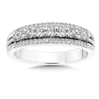 Pave and Prong set Graduated Diamond Anniversary Ring 14k White Gold (1/2ct. tw.)