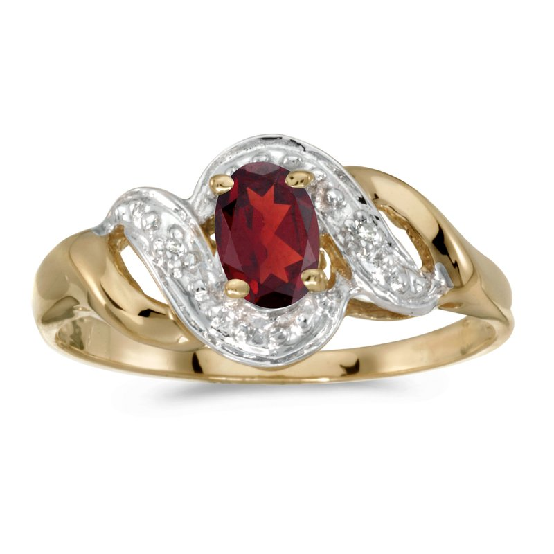 Color Merchants 10k Yellow Gold Oval Garnet And Diamond Swirl Ring
