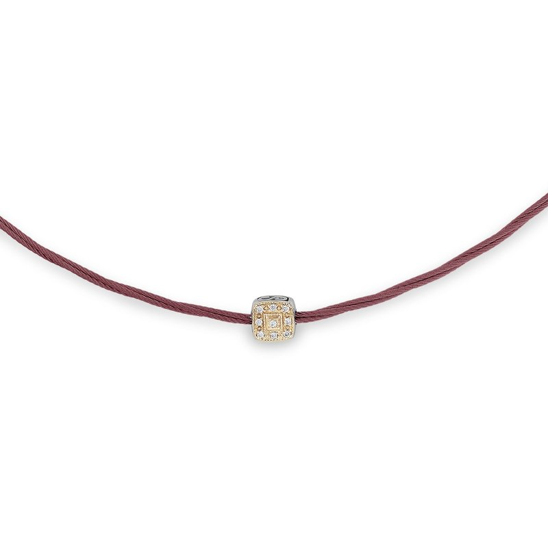 ALOR Burgundy Micro Cable Necklace with Single Square Station set in 18kt Yellow Gold