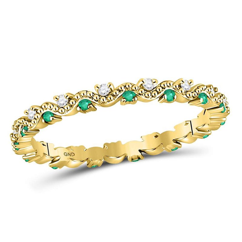 Gold-N-Diamonds, Inc. (Atlanta) 10kt Yellow Gold Womens Round Emerald Diamond Eternity Stackable Band Ring 1/4 Cttw
